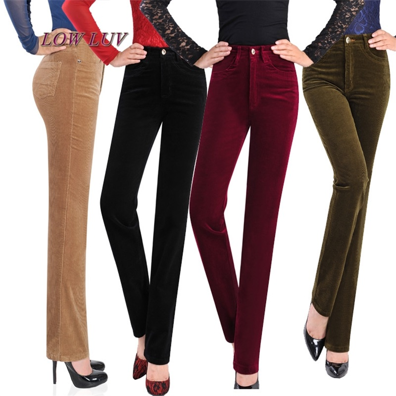 Free Shipping Women's Autumn Corduroy Boot Cut Pants Female Mid Waist Business casual Candy Color flares Corduroy Trousers 27-36