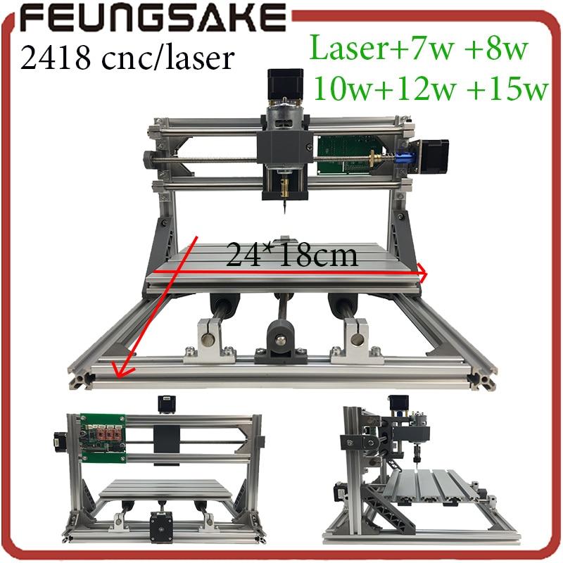 Laser machine de Sculpture Sur Bois, 2418 cnc routeur machine de gravure, 3 axes bricolage mini routeur, fraiseuse Pcb, GRBL contrôleur arduino