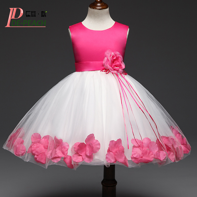 DE PEACH Flowers Petals Girls Dress Princess Vestido Children Bridesmaid Wedding Dresses Kids Lace Tulle tutu Formal Party Dress