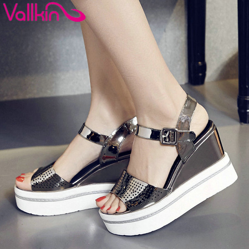ФОТО VALLKIN 2017 New Women Pumps All Match Platform Patent Leather Green High Heel Shoes Buckle Peep Toe Ladies Shoes Size 34-39