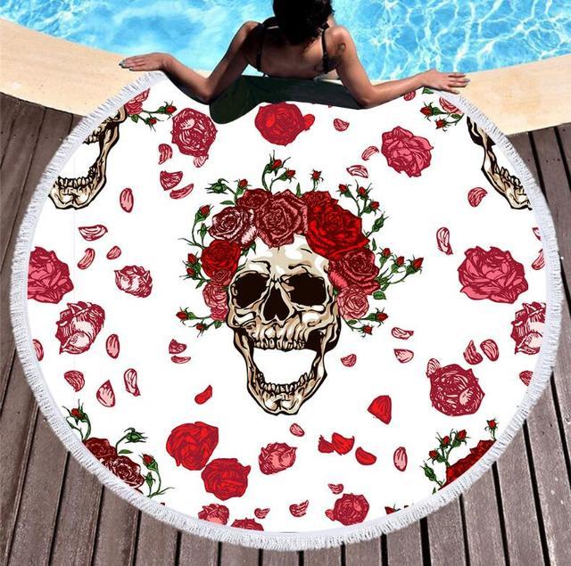 FLORAL SKULL ROUND BEACH TOWEL (6 VARIAN)