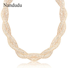 Nandudu Luxury Wire Mesh Austrian Crystal Necklace New Arrical Chain Fashion Women Girl Necklaces Jewelry Gift N360(China)