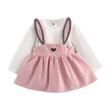 0-3 Years Old Autumn fashion Baby Toddler Girl Cute Rabbit Bandage Suit Mini Dress sep26
