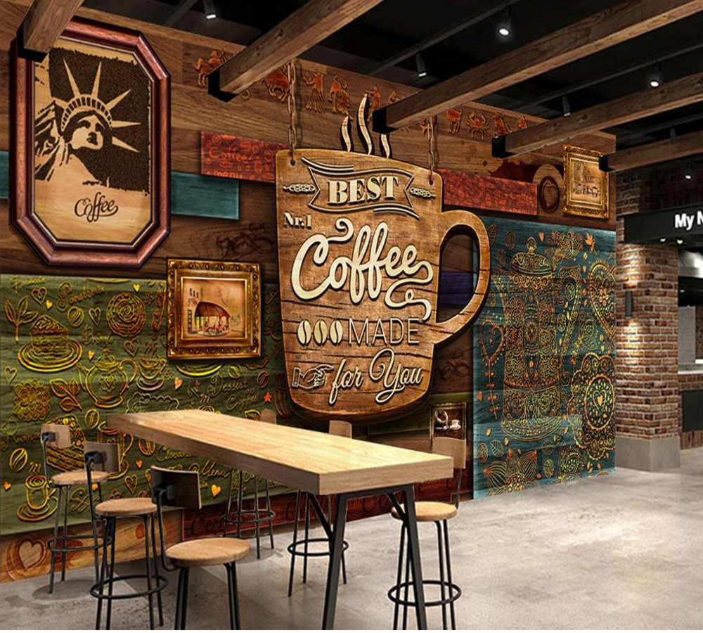 Vintage Café Free Shipping Custom Mural Wallpaper Hd Hand Painted Vintage Cafe Background Wall Decorative Painting Coffee Shop Wallpaper