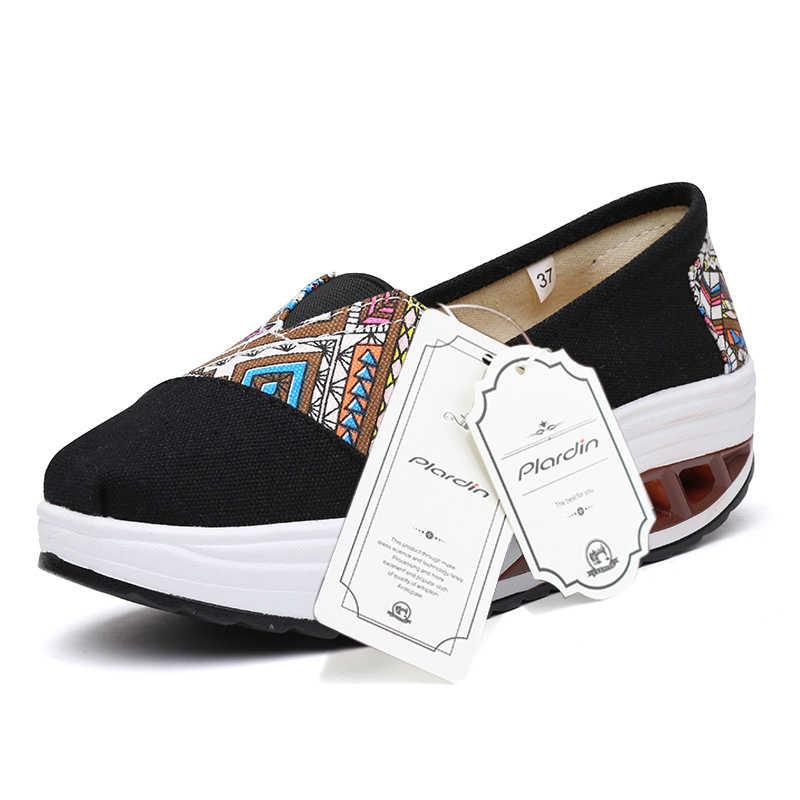 Plardin Sneakers Nữ Phẳng Nền Tảng Giày Người Phụ Nữ Cổ Vải Thoáng Khí Cây Leo Giày SLIP-ON Appliques Nữ Giày Nữ