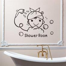 Cute Baby Girl Bathing In Shower Room Pattern Wall Stickers For Bathroom Home Decoration Diy Cartoon Wall Decal Vinyl Mural Art