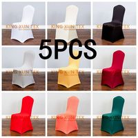 5PCS Cheap Hotel White Lycra Spandex Chair Covers for Weddings Party Christmas Banquet Dining Office Stretch Chair Cover