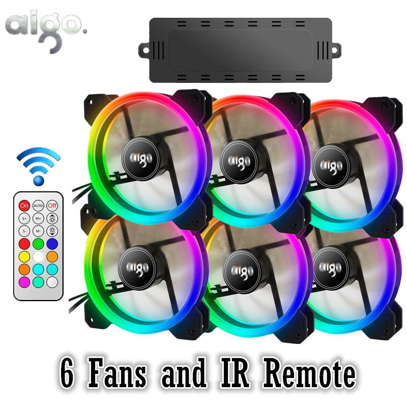 AIGO DR12 RGB 6pcs Computer Case PC Cooling Fan RGB Adjust LED 120mm Quiet + IR Remote New computer Cooler Cooling RGB Case Fan aigo c3 c5 fan pc computer case cooler cooling fan led 120 mm fans mute rgb case fans