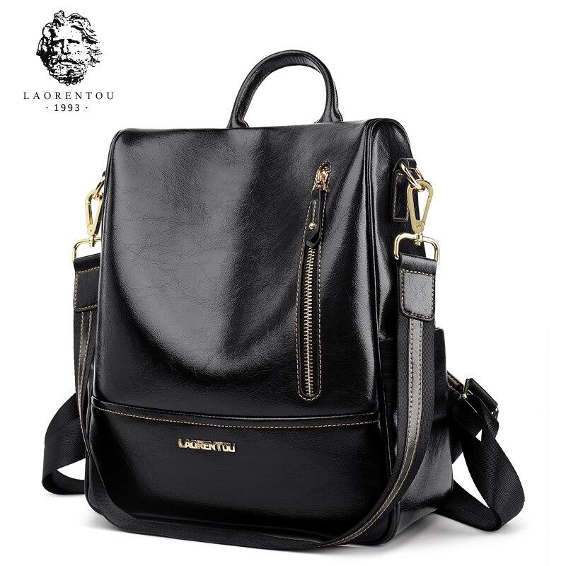LAORENTOU 2018 Student Backpack Solid Female New Fashion Women Genuine Leather School Bag Ladies Backpacks For Teenager Girls цена