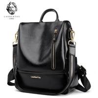 LAORENTOU 2019 Student Backpack Solid Female New Fashion Women Genuine Leather School Bag Ladies Backpacks For Teenager Girls