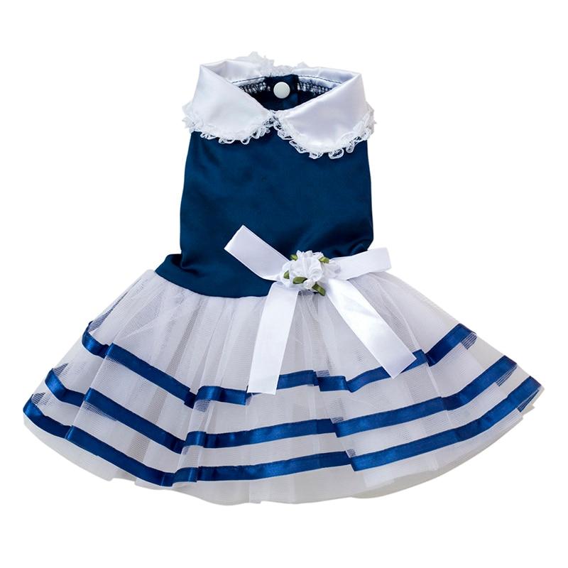 Maoyuan Store Summer Lace Sailor Dog Tutu Dresses Stripes Skirt For Dogs Dress Pet Princess Clothing