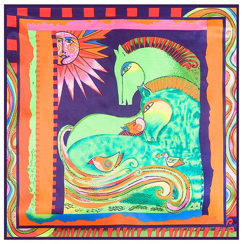 Msicory Syal 60 60 Cm Bohemia Kuda Matahari Burung Abstrak Lukisan