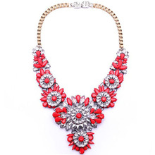 2017 High Quality Rainbow Flower Choker Chunky Shourouk Slap-up Necklace Multicolor