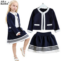 AiLe Rabbit 2017 New Girls Navy Suit Jacket Skirt 2 Pieces Set Casual Fashion Out Brand