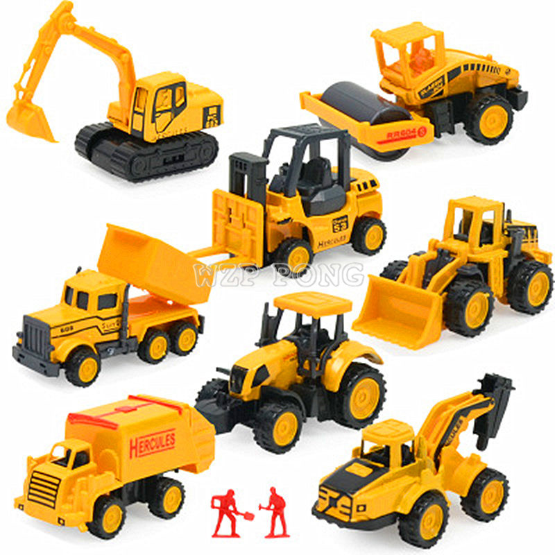 8pcs/set Engineering Car Diecast Mini Alloy Construction Vehicle Model Inertia Truck Mixer Excavator Classic Toy Kids Gift