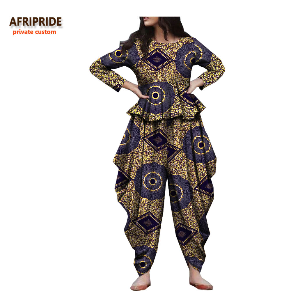 2018 spring autumn african suit for women AFRIPRIDE three quarter sleeve top ankle length wide pants casual women suit A722676 in Africa Clothing from Novelty Special Use