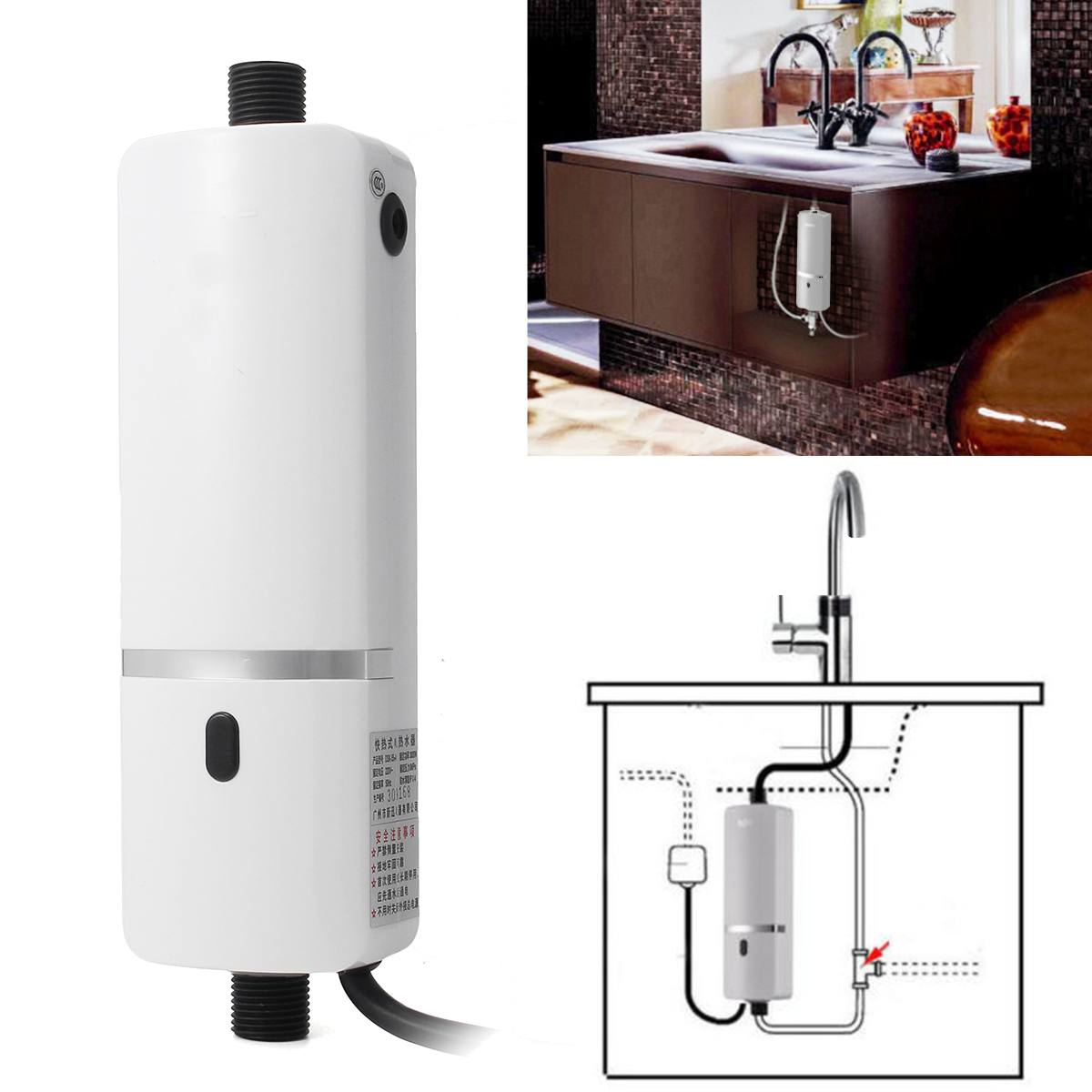 220-240V 3000W Instant Electric Tankless Water Heater Shower System Under Sink Tap Faucet  For Kitchen Bathroom Water Heater