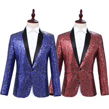 Mens Fall Fashion Clothes 2019 Personality Sequins Stage Suits Men Blazer Fall Fashion 2019 Casual Single Breasted Blazers Coats decline and fall stage 6