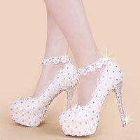 2016 zapatos cristalinos de la boda de encaje blanco vestido de dama de honor de la novia de la boda de tacón de aguja zapatos de las mujeres solteras