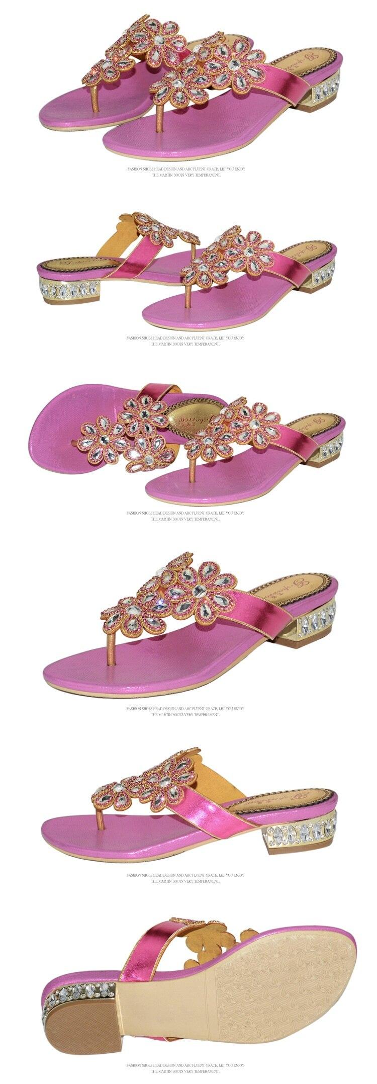 G-sparrow 2018 New Womens Fashion Rhinestones Slippers Flat Heels Flip Flops Gold Pink Size 11 High Quality5