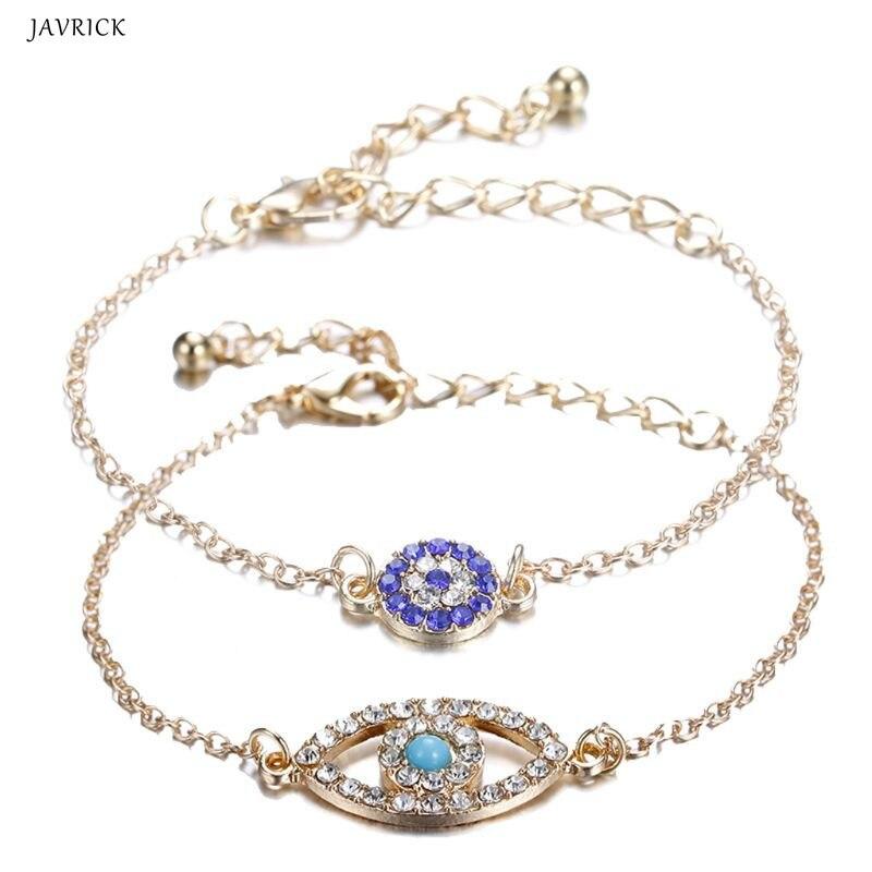 Objective 2pcs Fashion Bracelet Turkey Charm Blue Evil Eye Protect Lucky Bracelets Set Full Crystal Jewelry Chain & Link Bracelets Bracelets & Bangles