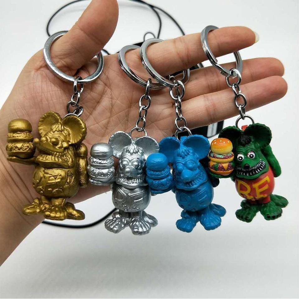 Rat Fink Ed Roth Big Daddy Color Charm Handmade Custom Key Chain Action Figure
