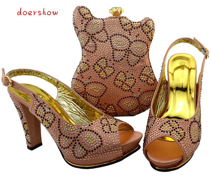 doershow Women Shoes and Matching Bags Set Italian African Wedding Shoe and Bag Sets Decorated with Diamonds for Party BCH1-40 italian matching shoes and bag set african wedding shoe italy sandal shoe and bag set for party high heels sandal shoes bch 27