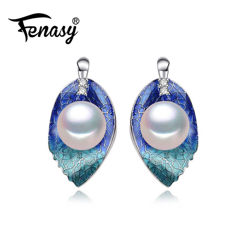 FENASY 真珠ジュエリーイヤリング、天然真珠の葉の花のイヤリング女性、ウエディングジュエリーラブファッションパーティーイヤリングジュエリーボックス