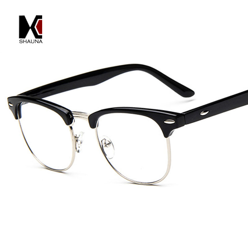 SHAUNA Vintage Men Retro Style Black Frame Plain Glasses Fashion Women Nail Decoration Eyeglasses Optical Frame Glasses