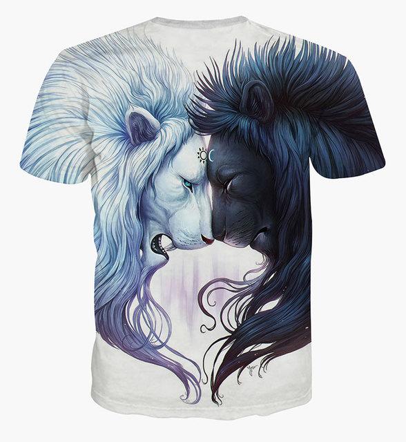 Tiger print 3D animal T shirt for men women outwear