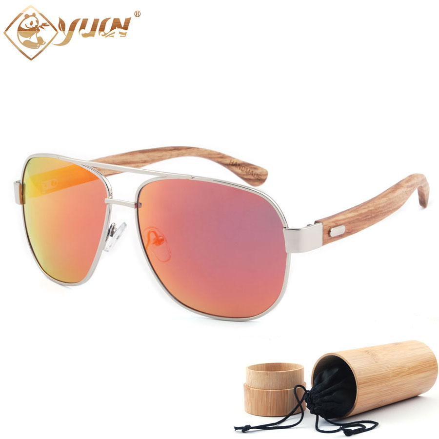 New fashion wood arms sunglasses polarized REVO mirror lens wooden sun glasses for unisex 1703 uv400 polarized mirror orange lens wood frame sunglasses