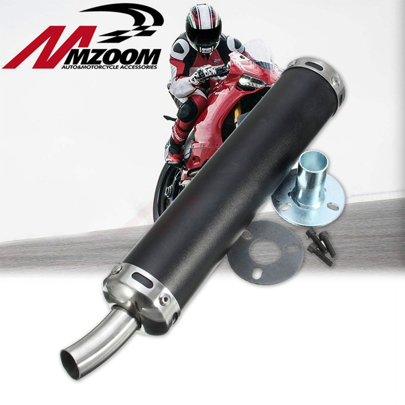 Free Shipping Style Design Universal Metal 20MM Racing Motocross Black Exhaust Silencer 2 Stroke Motorcycle Pipe Muffler In