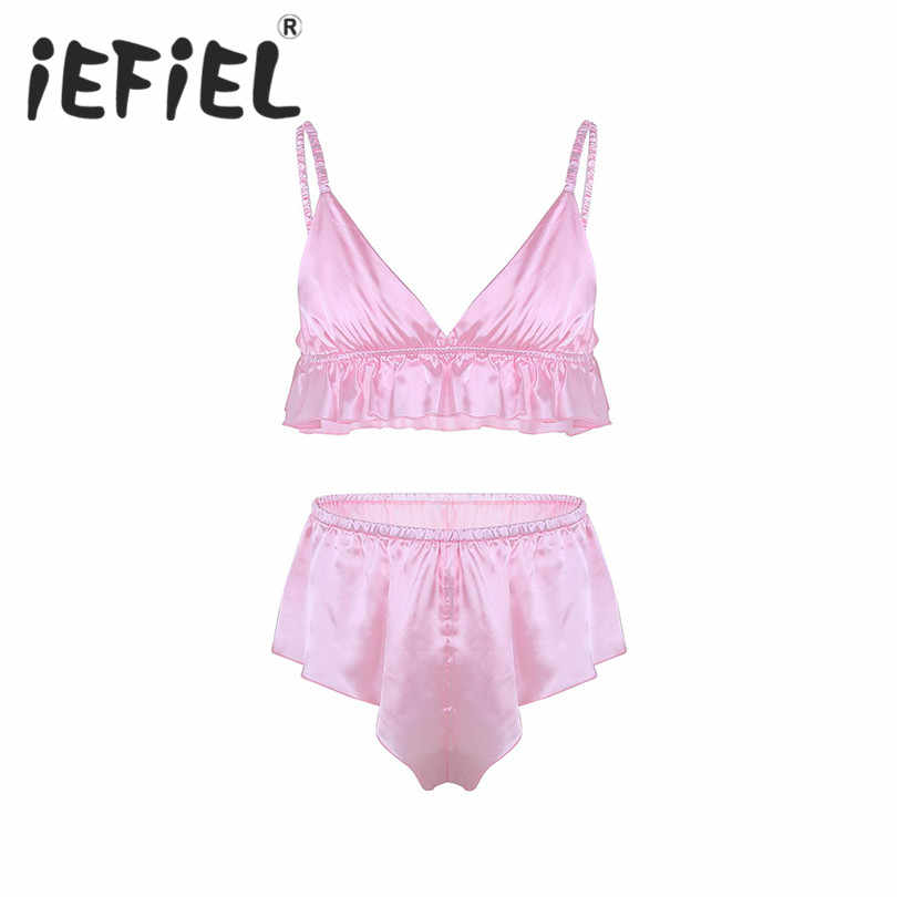 iEFiEL Sexy Mens Male Lingerie Set Sissy Lingerie Soft Silky Bra Top with  Loose Triangle Briefs