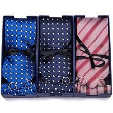 Gift box Custom Personalized Mens Ties Hankie Cufflinks Sets Neckwear 7cm Paisley Cravats Striped Necktie for Men Wedding Party