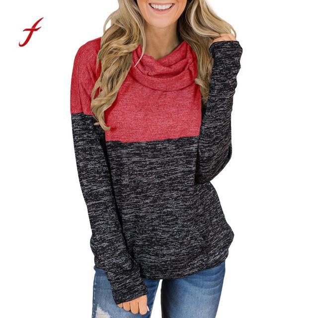 e5031e7a4bc1 € 4.24 33% de DESCUENTO|Mujeres cuello alto Tops empalme sólido camisas  túnica manga larga suéter sudadera con capucha ropa mujer felpe donna en ...