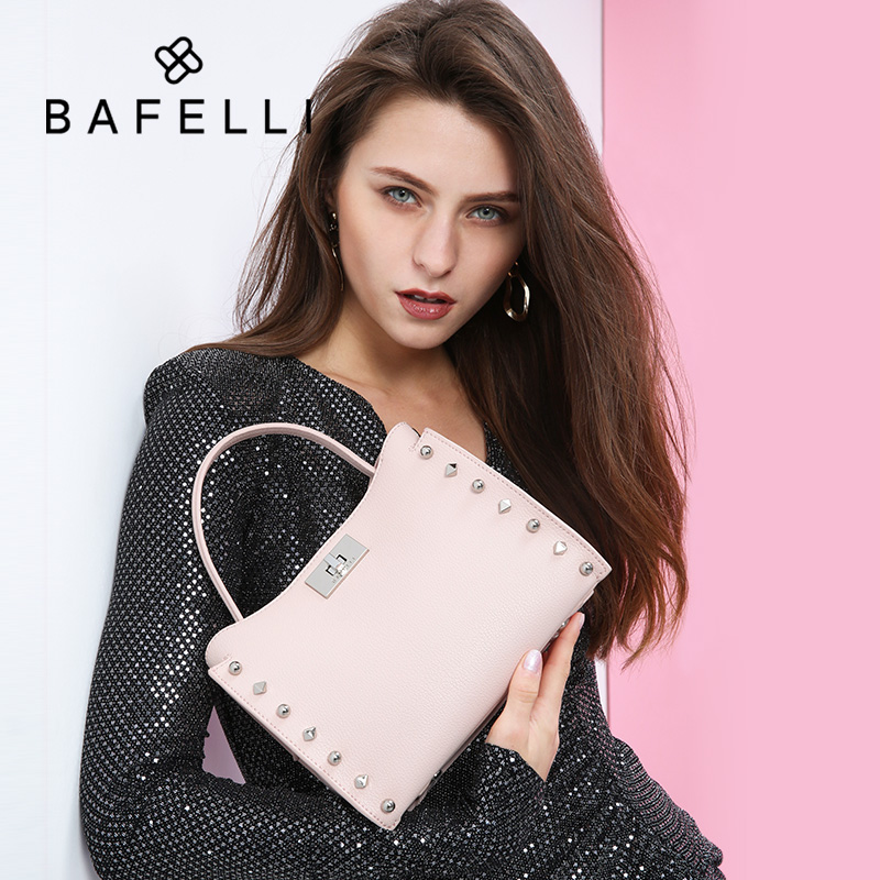 BAFELLI Designer handbag 2019 fashion luxury brand bag cowhide shoulder bag rivet large capacity body bag for womenBAFELLI Designer handbag 2019 fashion luxury brand bag cowhide shoulder bag rivet large capacity body bag for women