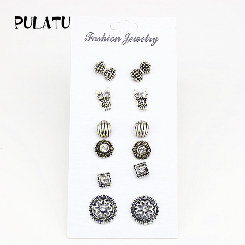 PULATU 6 Pairs/set Small Stud Earrings for Women Zinc Alloy Ancient Silver Color Men Earring 2017 Fashion Jewelry ED0738