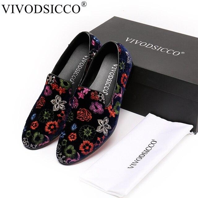 697704fc3ffff VIVODSICCO Men Velvet Dress shoes Men Loafers Handmade Black Velvet  Slippers Shoes Luxury Men's Flats Embroidery