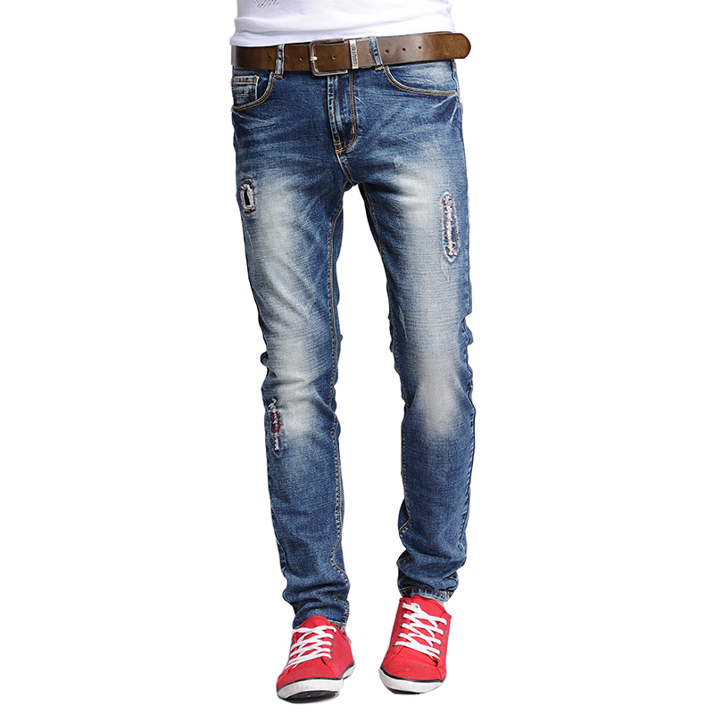 ФОТО Skinny Jeans Men 2016 Teen Fashion Suture ripped jeans male trousers elastic feet distressed jeans High Quality Pants
