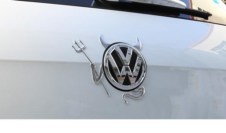 3D funny Car Devil three-dimensional Silver Sticker Devil Horns For Volkswagen