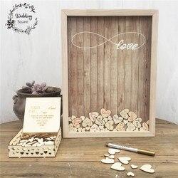 170 Uds corazones exclusiva decoración de boda rústica dulce libro de visitas corazón caja de gota de boda caja de madera del libro de invitados 3D