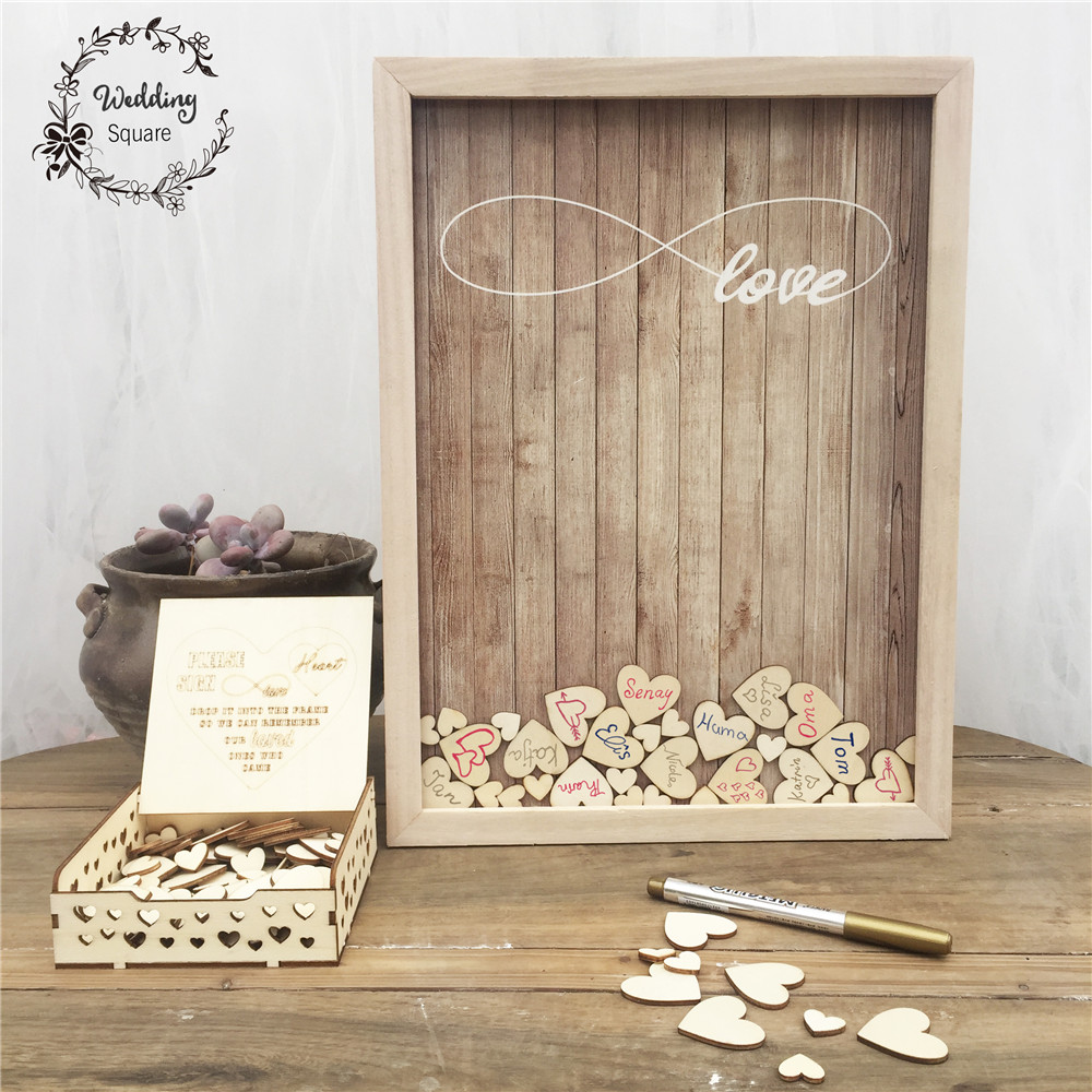 170pcs Hearts Unique Wedding Decoration Rustic Sweet Wedding Guestbook Heart Drop Box Wedding Drop Box 3D Guest Book Wooden Box