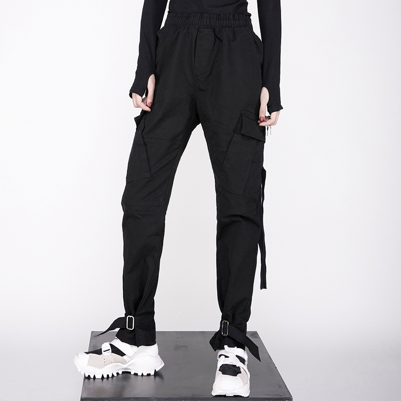 Casual-Trousers Three-Dimensional-Pocket Punk Hip-Hop Fashionable New And Woman