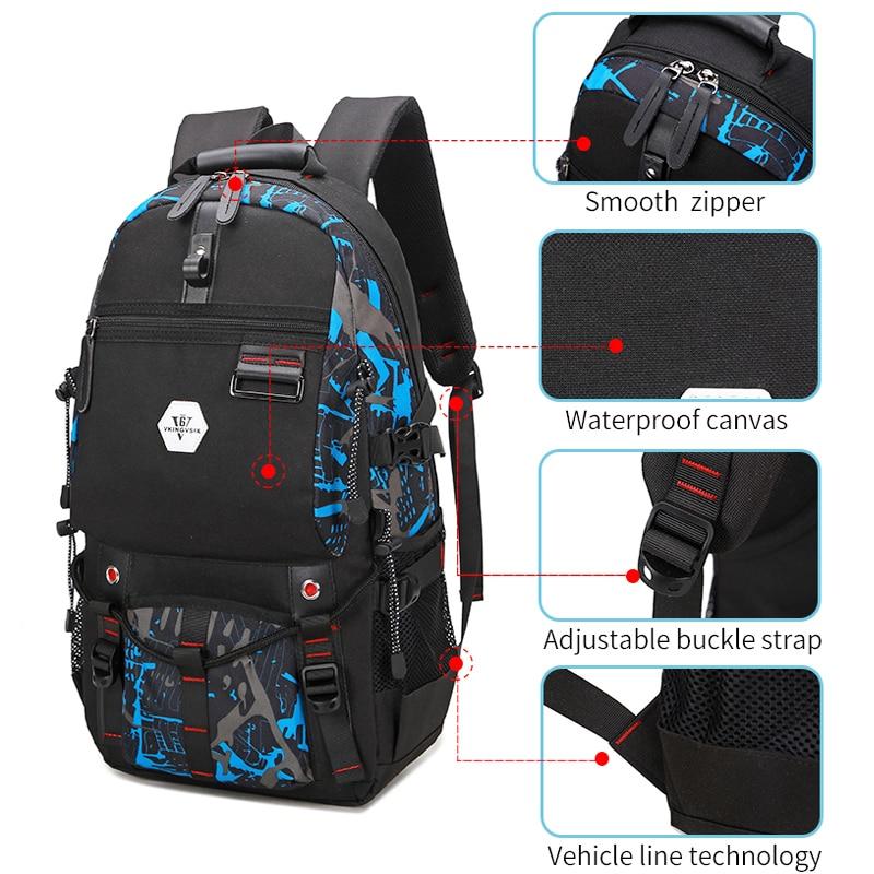 Vkingvsix Usb Waterproof Backpack Women Men 15.6 Inch Laptop Backpacks Travel Teen School Bags Boys Back Pack Mochila Bagback #6