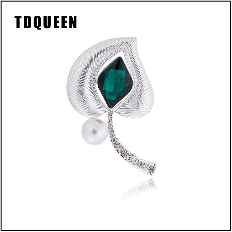 fb35f643fa TDQUEEN Green Crystal Brooches for Women Big Round Pearl Silver Nice Heart  Leaf Scarf Hijab Pins and Brooch Pompom Dress Jewelry
