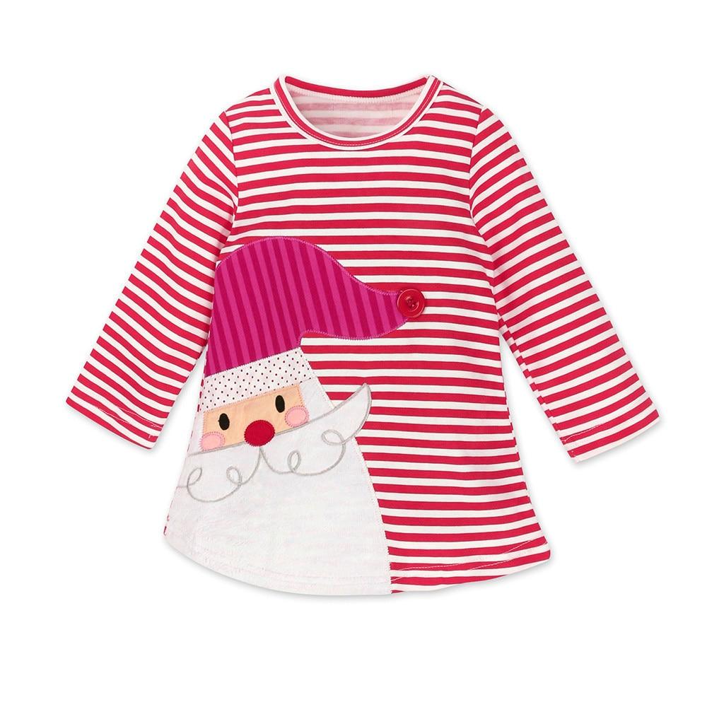 Babay Kids Lady Girls Santa Striped Princess Dress Christmas Outfits Clothes Hot