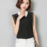 2017 Summer Sexy Women Sleeveless Tops Peter Pan Collar Black Shirts Fashion Chiffon Blouse Shirt Slim