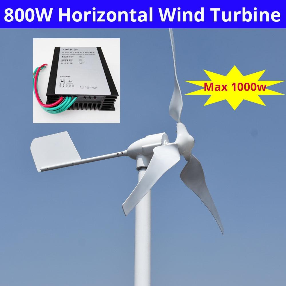 800Watt Wind Turbine Generator 48v 3 Blades Max Power 1000w For Home Use Battery charging max 900w 2 5m s start up wind speed 2 2m wheel diameter 3 blades 800w 48v wind turbine generator