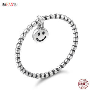 925 silver rings for women fashion silver standard smile face ring women's jewelry christmas party band DAFANYU SCR147