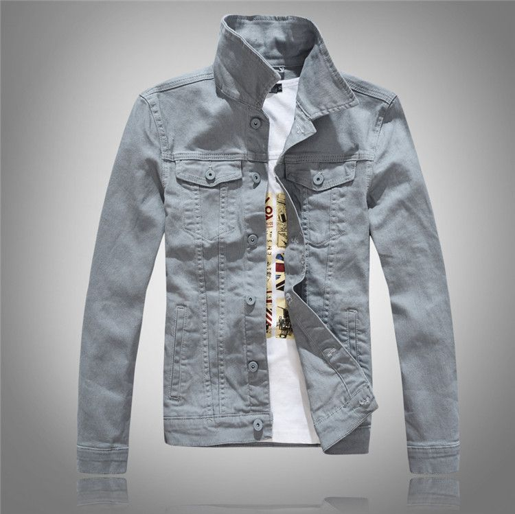 Hip Hop Mens Candy Color Denim Jacket Autumn Single Breasted Slim windbreaker veste homm ...